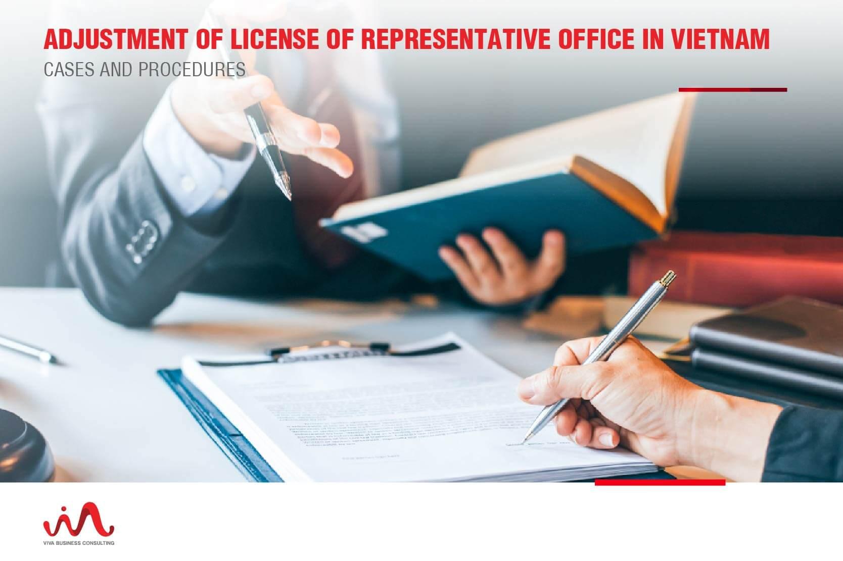 Adjustment of license of representative office in Vietnam